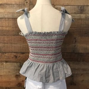 Style Envy Tops - Style Envy Smocked Striped Top XL Gray/White